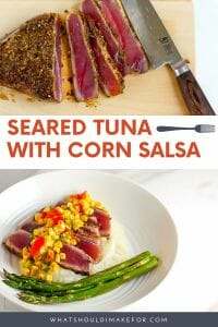 Crusted, seared tuna steaks are paired with a fresh and bright corn salsa.