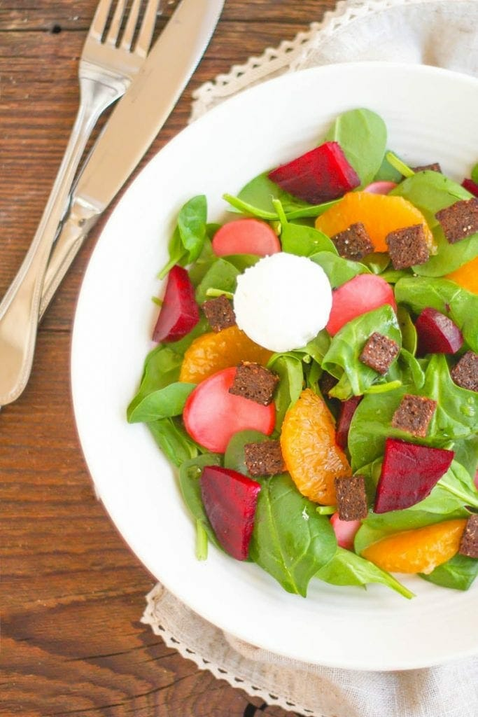 Beet and Orange Spinach Salad