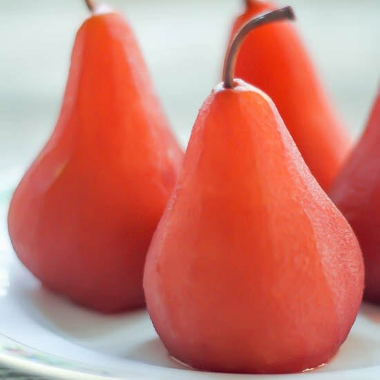 Red Wine Poached Pears on a plate.