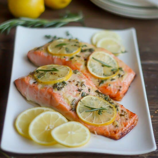 Roasted Salmon with Herb Buttter