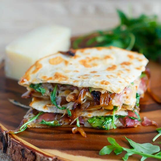 Caramelized Onion, Prosciutto and Fig Quesadilla