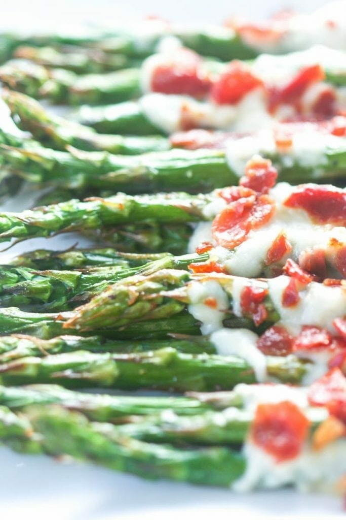 Roasted Asparagus with Parmesan Sauce and Prosciutto
