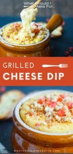 This creamy grilled cheese dip is a blend of three cheeses, crispy bacon crumbles and diced tomato served with toasted baguettes.