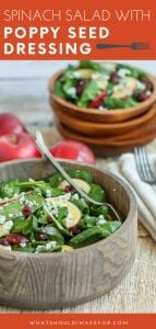 This sweet and tangy spinach salad with poppy seed dressing is loaded with fruit and crumbly blue cheese and makes a great a starter or light meal.