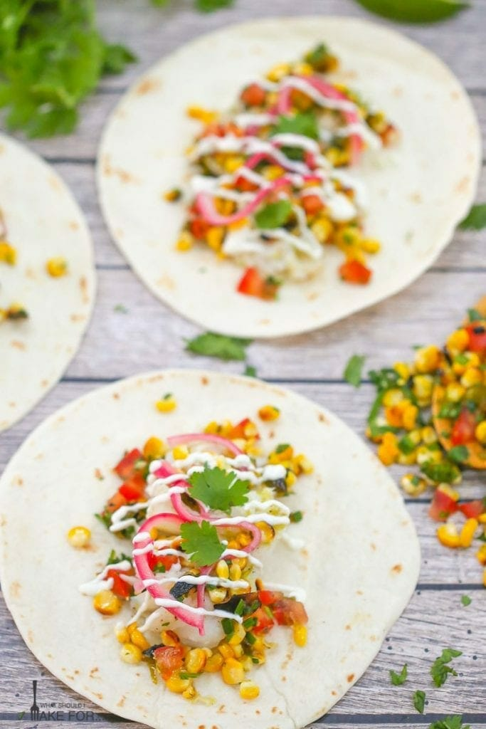 Grilled Fish Tacos with Charred Corn and Jalapeño Salsa