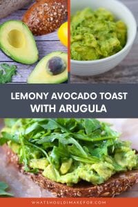 A smear of creamy avocado mash on multi grain toast topped off with peppery arugula makes this avocado toast a quick and satisfying breakfast, lunch, ordinner.