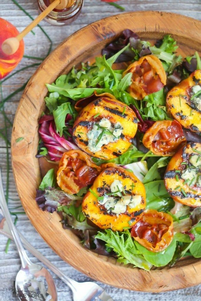 Grilled Peach Salad with Honey Vinaigrette
