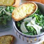 Kale Caesar Salad with Parmesan Toasts