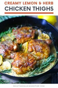 Crispy-skinned creamy lemon and herb chicken thighs slathered in a drool-worthy sauce makes a deceptively easy weeknight meal.
