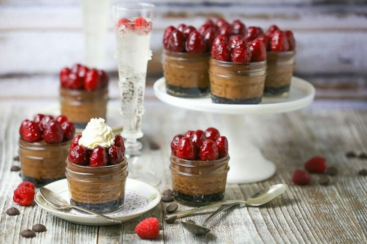 Raspberry Triple Chocolate Cheesecake in a Jar
