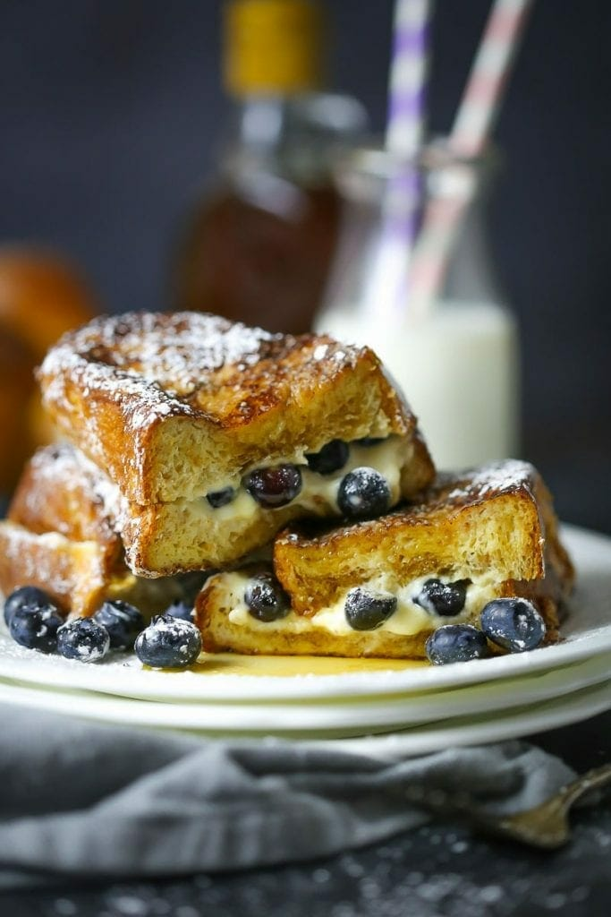 Mascarpone and Blueberry Stuffed French Toast