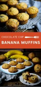 Sweet enough for a light dessert, but also great for breakfast, these banana chocolate chip muffins are a cinch to whip up!