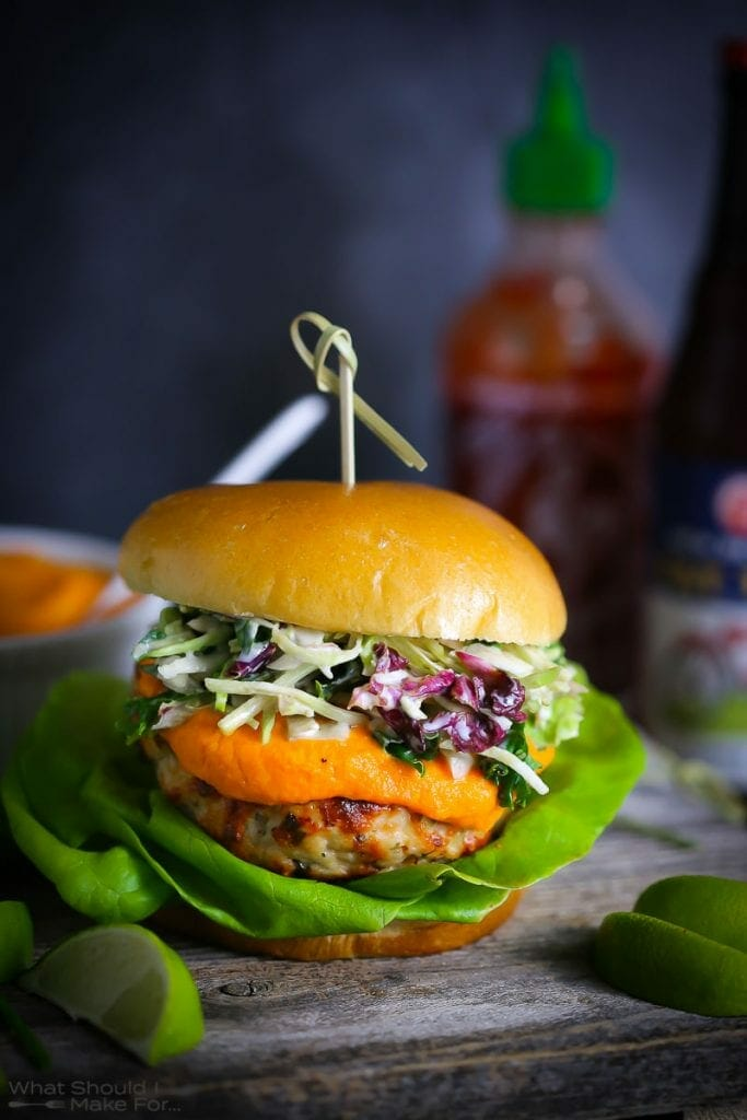 Thai Turkey Burgers with Spicy Carrot Sauce