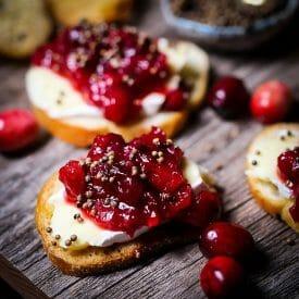 Cranberry Chutney and Brie Crostini