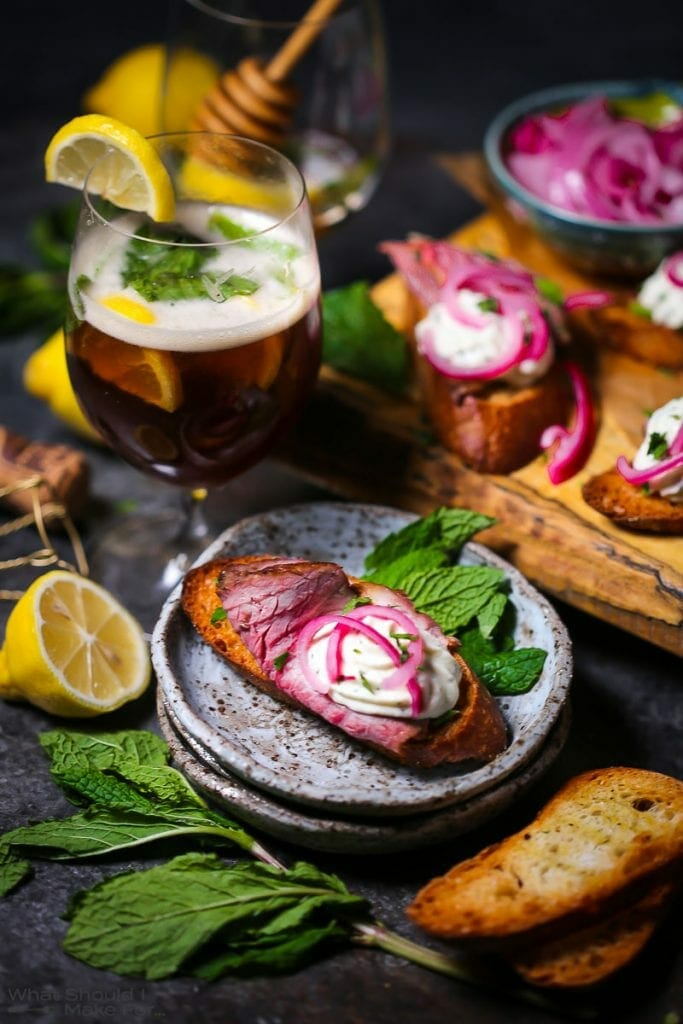 Lamb Crostini + Bourbon Beer Cocktail