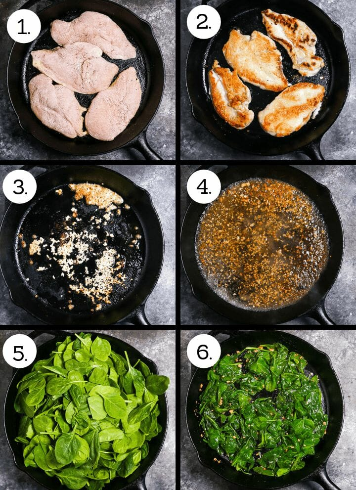 Step by step photos on how to make Chicken Breasts with Creamy Spinach Sauce. Add the chicken to the pan (1), brown the chicken, then remove to a plate (2), saute the garlic (3), deglaze with white wine (4), add the fresh spinach (5), cook until wilted (6).