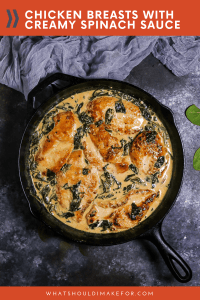 Cozy creamed spinach meets chicken in this new classic comfort dish. Make these chicken breasts with creamy spinach sauce in your cast iron skillet and serve it for a weeknight family dinner.
