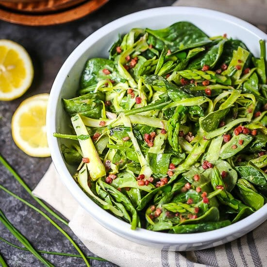 Shaved Asparagus and Spinach Salad