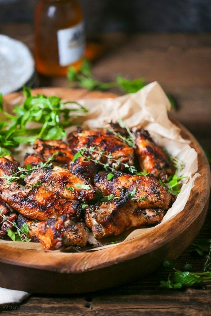 Garlic and Herb Marinated Grilled Chicken Wings