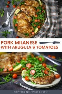 Tender pork chops coated with a crispy parmesan panko crust are nestled on a bed of greens in this simple and satisfying weeknight meal. Pork Milanese with arugula and tomatoes can be on your table in minutes!