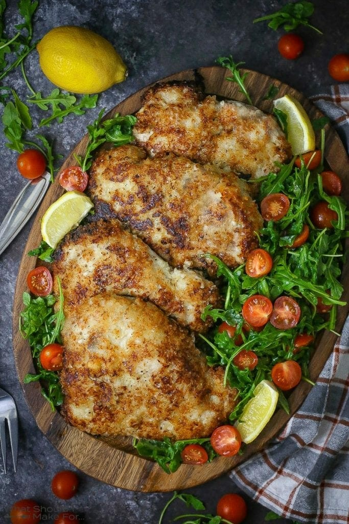 Pork Milanese with Arugula and Tomatoes