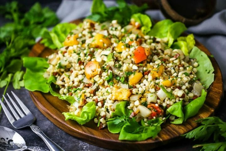 Grilled Corn and Peach Salad
