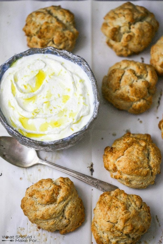 """Drop biscuits and whipped ricotta for Tomato """"Shortcake"""" with Whipped Ricotta"""