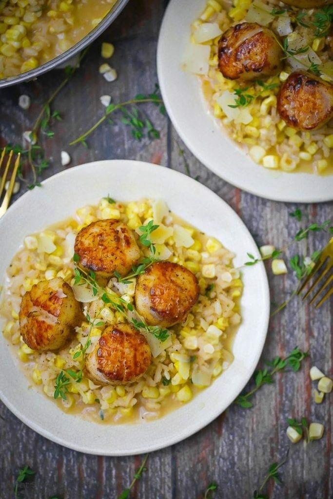 Seared Scallops with Fresh Corn Risotto