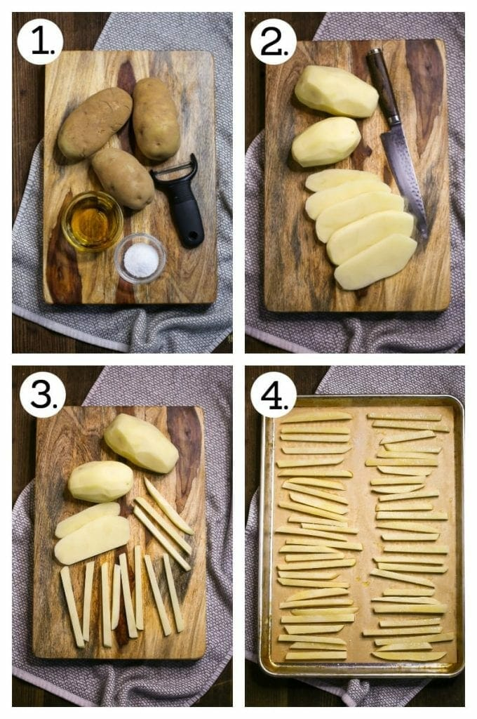 Step by step photos showing how to prep oven fries including: gathering the ingredients (step 1), peeling and slicing the potatoes (steps 2 and 3) and arranging the potato strips on a baking sheet (step 4)