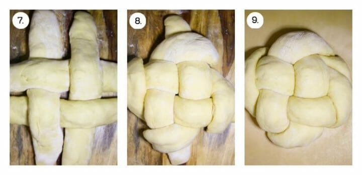 Three steps on how to weave apple challah, first in a tic, tac, toe shape, then folding over the ends, and finally the risen round challah, ready to bake