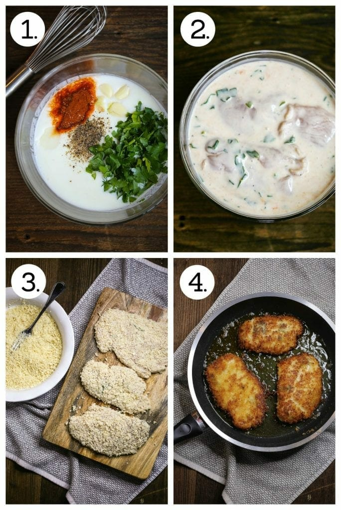 Step by step procedure demonstrating how to make easy breaded chicken breasts. Four steps include making the buttermilk marinade, dipping the cutlets and frying them in oil.