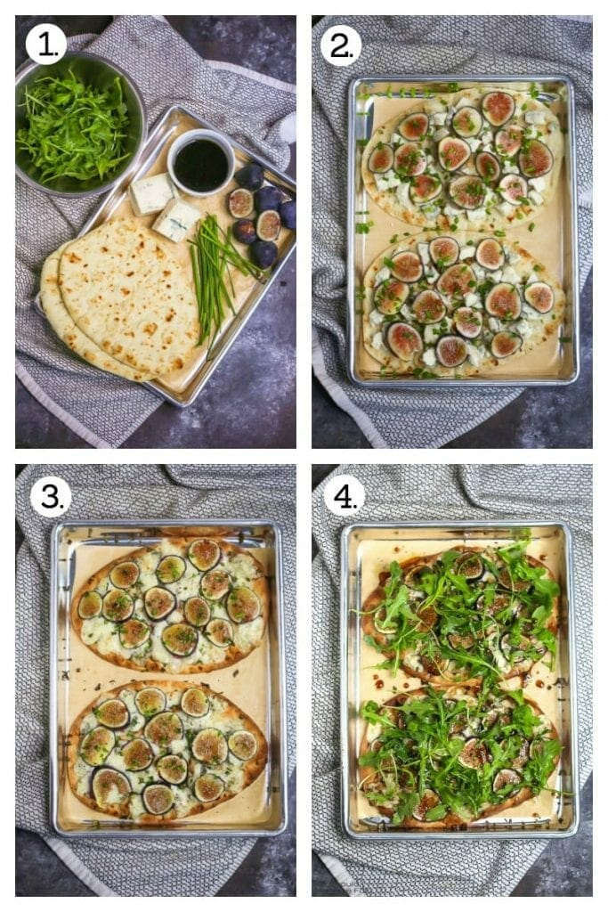 4 step procedure of how to make fig, blue cheese, and arugula flatbread drizzled with honey balsamic vinaigrette.