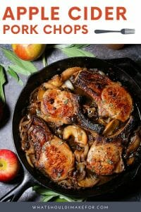 Juicy bone-in pork chops are served in a slightly sweet and tangy apple cider glaze with caramelized onions and apples. Apple cider pork chops are pure fall comfort food, pretty enough for guests, but easy enough for a weeknight meal.
