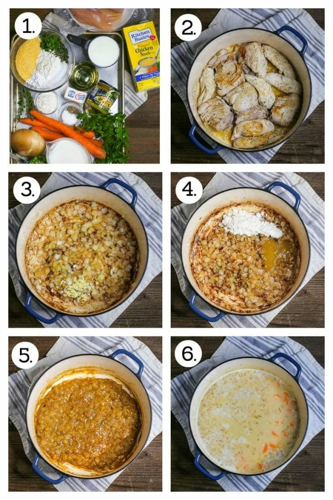 Step by step photos demonstrating how to make Chicken and Herb Dumplings. Gather ingredients (1), brown the chicken (2), cook the onion and garlic (3), stir in the flour and chicken base (4), add the wine and reduce (5), add the milk, stock and veg (6)