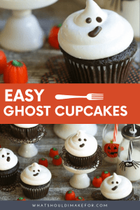 Boo! These easy ghostcupcakes are simple to decorate and the perfect treat for your Halloween party. My favorite no-fail chocolate cupcake is topped with a swirl of marshmallow frosting and a chocolate face is piped on for spooky cuteness.