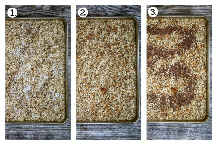 Step by step process of making homemade chocolate coconut pecan granola bars. Combine the oats, nuts and coconut on a sheet tray (1), toast in the oven (2), stir in the flax seeds (3).