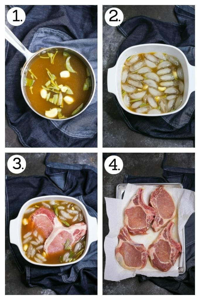Step by step photos on how to brine apple cider pork chops. Combine ingredients and bring to a boil (1), add ice to cool (2), add the chops to the brine (3), remove from the brine and pat dry (4).