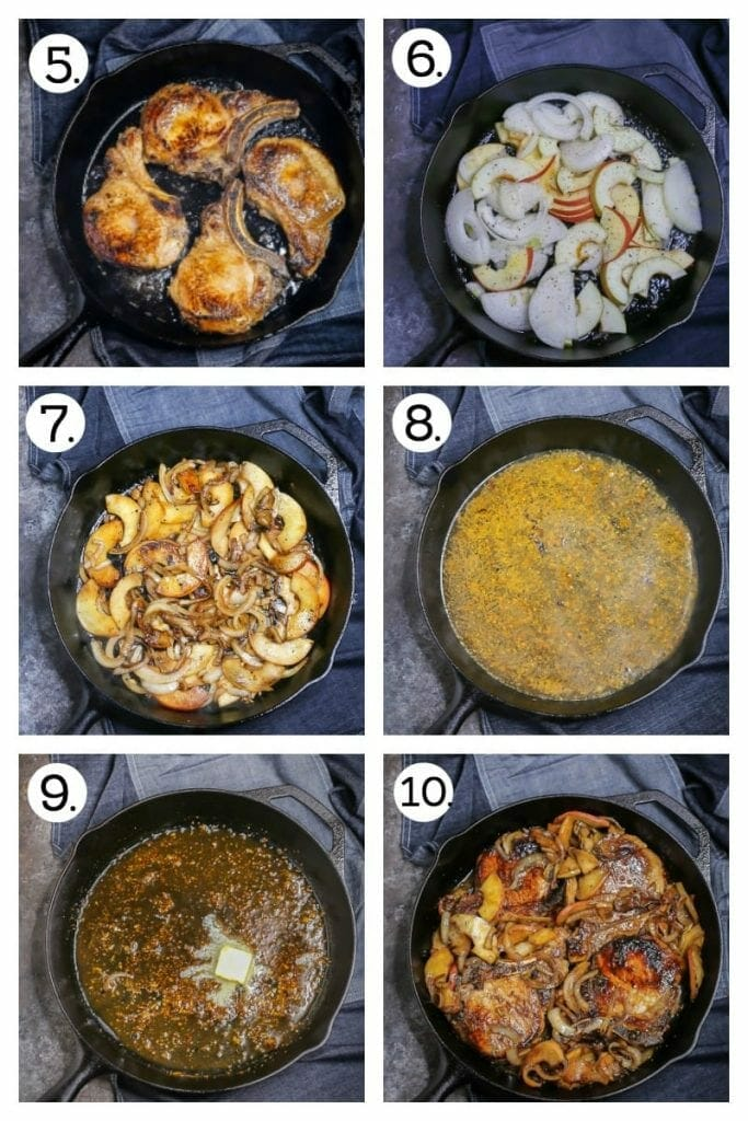 Step by step photos on how to make apple cider pork chops. Sear the pork chops (1), caramelize the apples and onions, (apples 2 & 3), make the apple cider glaze (4 & 5), combine and serve! (6)