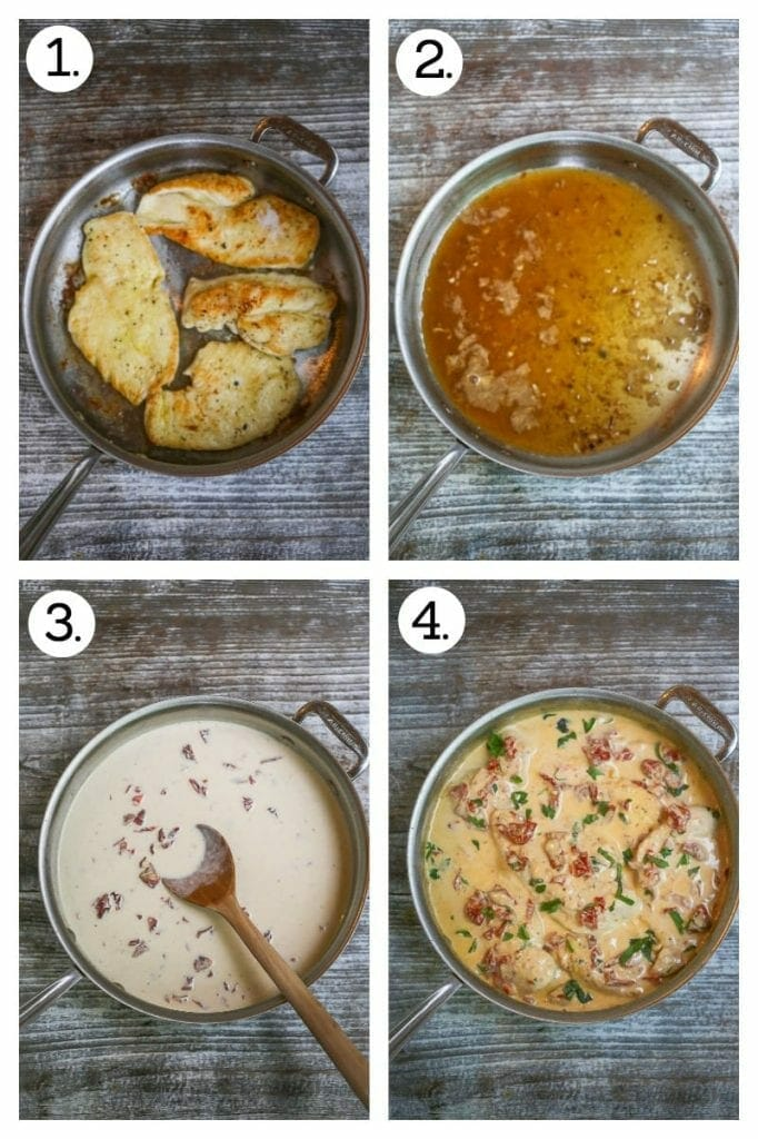 Step by step pictures of how to make chicken with creamy sun-dried tomato sauce. Saute chicken (1), remove the chicken, saute garlic and deglaze with white wine (2), stir in the cream, sun-dried tomatoes and parmesan (3), add the chicken and fresh basil and simmer until thickened (4).