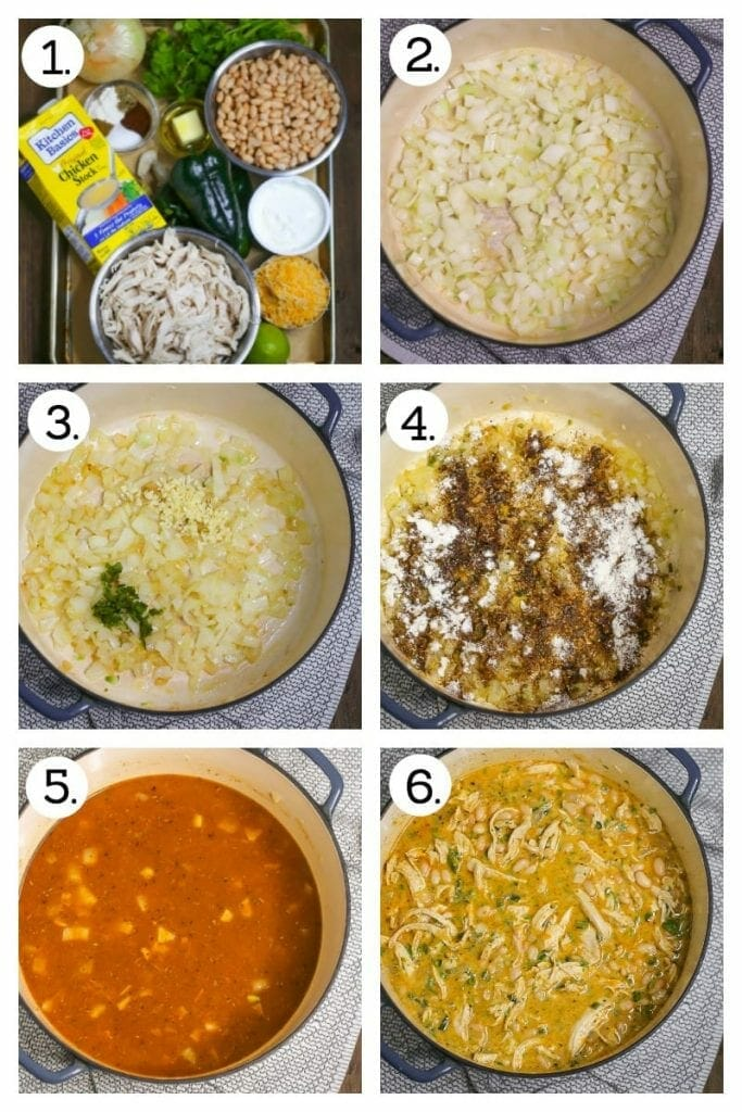 Step by step guide to making white chicken chili. Gather ingredients (1), Saute onion (2), add garlic and jalapeño (3), add spices and flour (4), stir in broth (5), add remaining ingredients and stir (6).