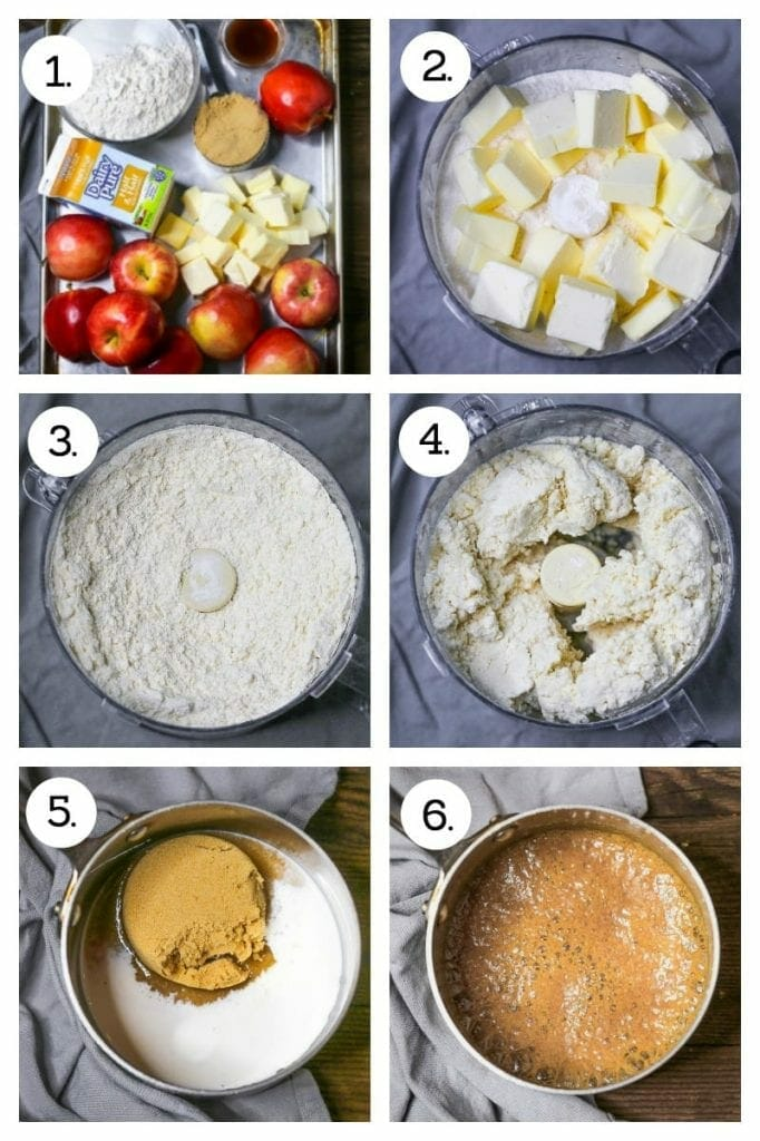 Step by step photos showing how to make a Caramel Apple Slab Pie. Gather ingredients (1), combine dry ingredients and butter in a food processor (2), blend until butter is cut in (3), mix dough in food processor (4), combine ingredients for caramel sauce (5), bring caramel sauce to a boil (6).