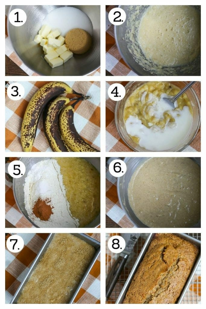 Step by step photos showing how to make Banana Bread. Combine the sugars and butter (1), mix in the eggs (2), grab those brown bananas (3), mash the banana with buttermilk (4), mix in the dry (5), add the vanilla (6), spread in the loaf pan and sprinkle with sugar (7), bake,, cool and eat! (8)