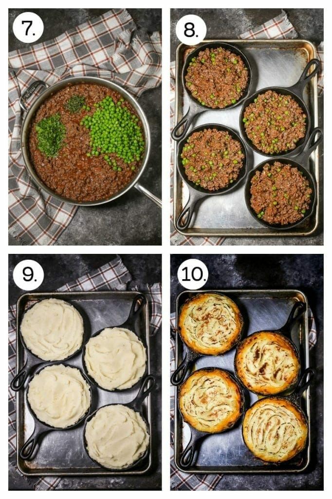 Step by step photos on how to make Shepherd's Pie. Add the peas and herbs to the meat mixture (7), divide the meat mixture between four individual cast iron skillets (8), top with mashed potatoes (9), bake until golden and bubbling (10).
