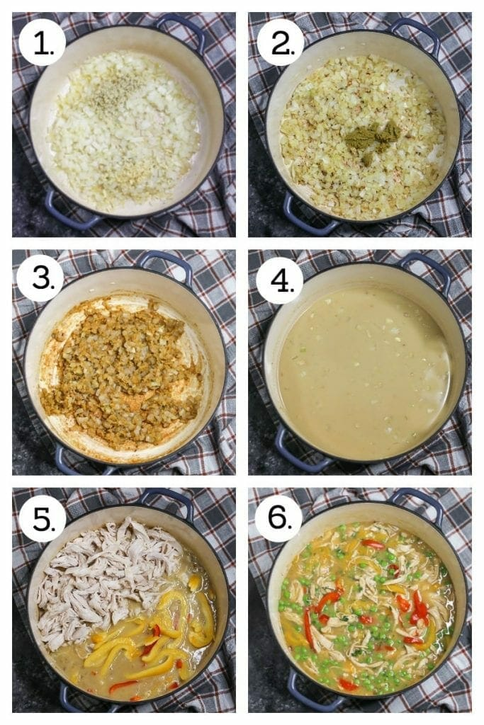 Step by step photos showing how to make Thai-Style Coconut Chicken Curry. Saute onions, garlic and ginger (1), stir in flour and then curry paste, (2), cook for one minute (3), add the wet ingredients (4), add chicken and peppers (5), stir in the peas, cilantro and lime (6).