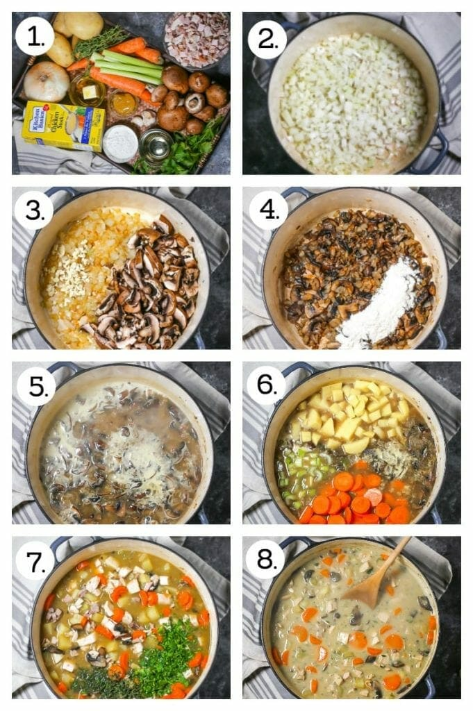 Step by step photos on how to make turkey stew, Gather ingredients (1), saute onions (2), add garlic and mushrooms (3), Stir in flour (4), stir in wine and broth (5), Stir in vegetable, cover and simmer (6), add herbs and turkey (7), add cream and simmer (8).