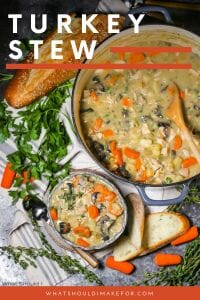 This hearty turkey stew with vegetables simmered in a creamy sauce is a delicious way to use up that leftover Thanksgiving turkey.