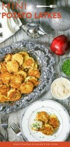 Traditional crispy potato latkes are topped with creamy apple creme fraiche in these tasty bite-size appetizers perfect for Hanukkah entertaining.