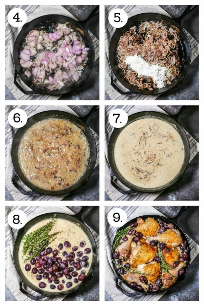 Step by step photos showing how to make Braised Chicken with Grapes. Saute the shallots (4), add the flour (5), add the wine (6), add the stock and wine (7), stir in the thyme and grapes (8), add the chicken back to the pan (9) and finish in the oven.