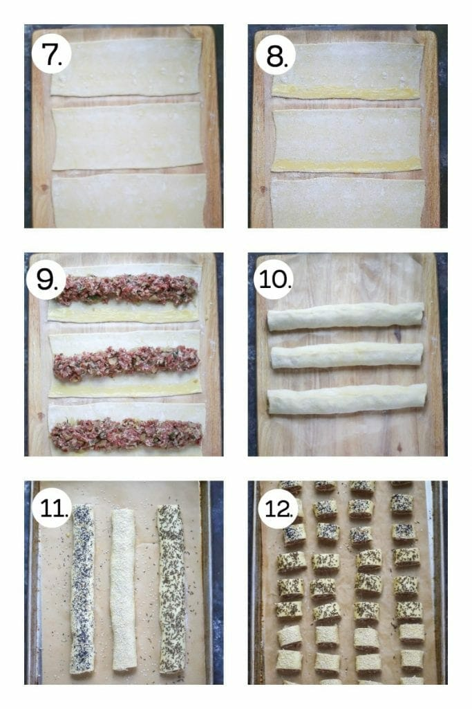 Step by step instructions on how to make sausage rolls. Divide puff pastry into three strips (7), brush the edges with egg wash (8), lay the sausage mixture down the middle (9), roll and seal (10), brush with egg wash and sprinkle with seeds (11), chill, then cut into bite size pieces (12).