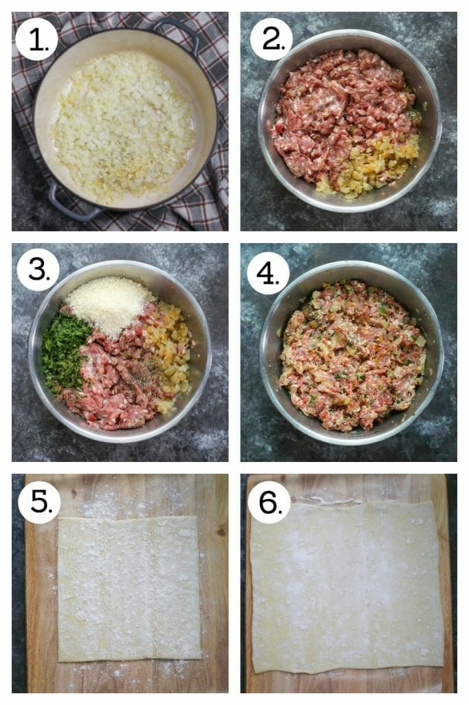 Step by step instructions on how to make sausage rolls. Saute onion and garlic (1), mix the sausage with the onion and garlic (2), add the parm and herbs (3), mix well (4), lay the puff pastry out and sprinkle with flour (5), roll out slightly (6).